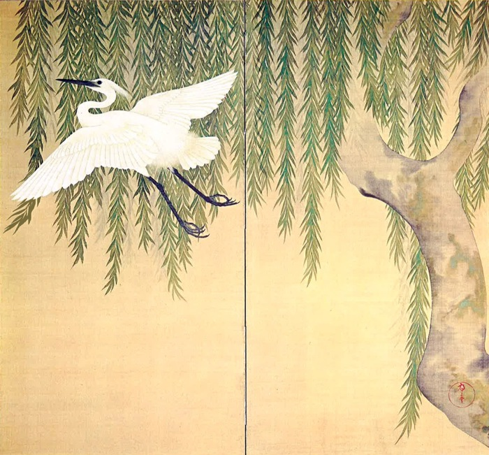 """Willow and Egret"" by Suzuki Kiitsu, 1796-1858, Japan"