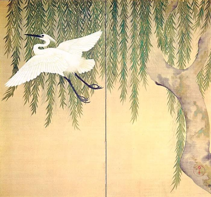 """""""Willow and Egret"""" by Suzuki Kiitsu, 1796-1858, Japan"""