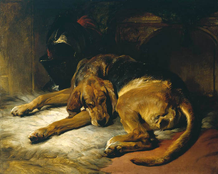 Sleeping Bloodhound exhibited 1835 by Sir Edwin Henry Landseer 1802-1873