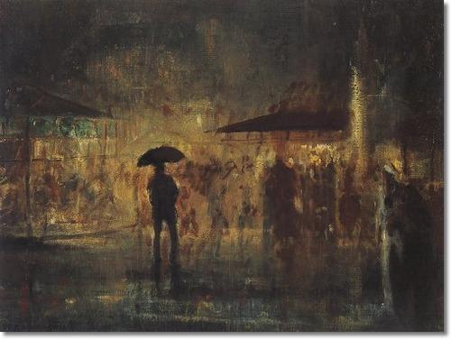 Everett Shinn-fair man in rain