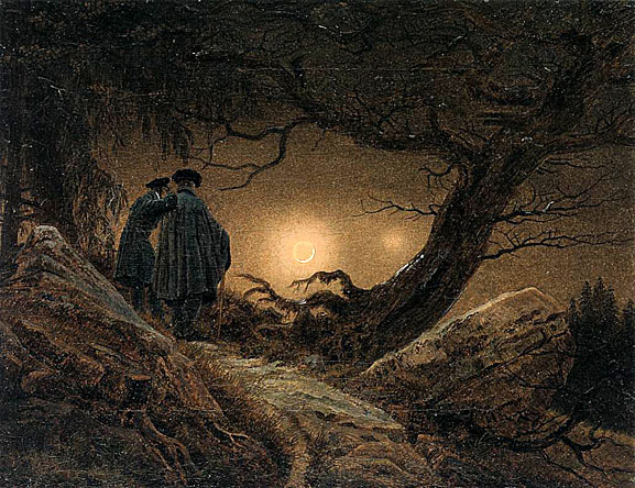 two men contemplating the moon - Caspar David Friedrich 1819