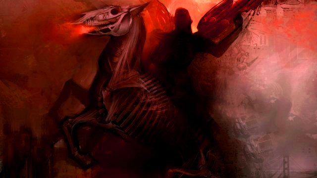 abstract android-jones-artwork-digital-art-four-horsemen-horses-skeletons